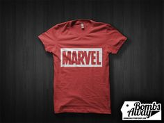 Bombs Away! Print Shop — Marvel Comics White on Red Tshirt