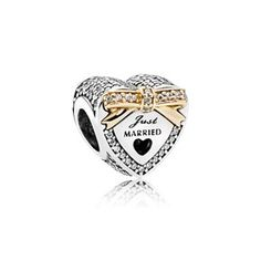 974710a1e616 PANDORA Wedding Heart Charm in sterling silver with 11 micro bead-set clear  cubic zirconia in gold bow detail and 171 micro bead-set clear cubic  zirconia ...