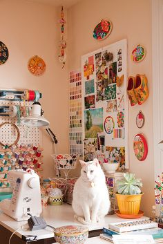 craft room with kitty. It's not a craft room without a kitty! Sewing Spaces, My Sewing Room, Sewing Rooms, Craft Room Storage, Craft Organization, Craft Rooms, Nifty Crafts, Sewing Crafts, Space Crafts