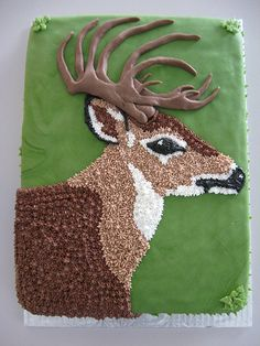 hunting cake For Men - Deer cake Hunting Birthday Cakes, Camo Birthday, Hunting Cakes, Hunting Themes, 5th Birthday, Birthday Ideas, Slab Cake, Deer Cakes, Decoration Patisserie