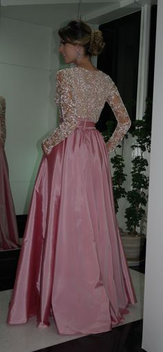 Elegant A-Line V-neck Prom Dresses Long Sleeve Evening Dresses With Beadings - Dorris Wedding Pretty Homecoming Dresses, Prom Dresses With Pockets, Prom Dresses 2015, Pink Prom Dresses, Prom Dresses Long With Sleeves, Prom Dresses With Sleeves, Jasmine Bridesmaids Dresses, Vestidos Sexy, Evening Dresses