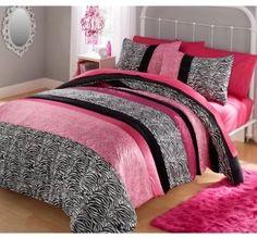 Full Size Comforter Set Pink Zebra Animal Print Reversible Bedding Bedroom Dorm