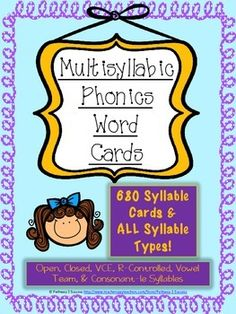 What You GetThis is a printable document of 680 multisyllabic word cards broken into the six syllable types: open, closed, vowel-consonant-e, r-controlled, vowel teams, and consonant-le. Cards include two and three syllable words. Use these cards to teach or practice phonics skills and automaticity of reading syllables in isolation.