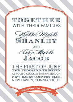 Like the font and font sizes.  Striped Invitation. $40.00, via Etsy.
