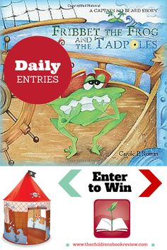 Enter to win a full autographed set of the Captain No Beard series, by award-winning author Carole P. Roman; including the newest title Fribbet the Frog and the Tadpoles; plus a Kidoozie Pirate Den Playhouse!