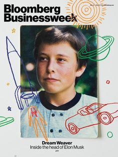 Bloomberg Businessweek Cover, with a photo provided by Elon Musk's mom. Poster Design, Graphic Design Posters, Graphic Design Illustration, Graphic Design Inspiration, Print Design, Poster Layout, Editorial Layout, Editorial Design, Design Food