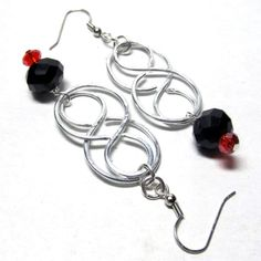 Hypoallergenic Celtic Knot Black & Red Crystal by ElementalKarma, $15.00