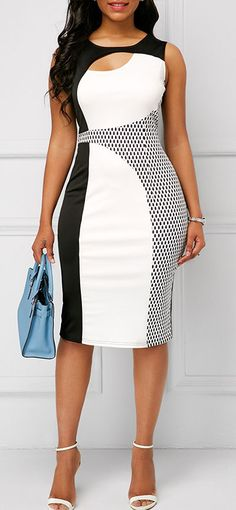 Sleeveless Round Neck Cutout Printed Sheath Dress