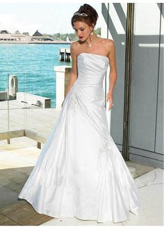 LACE BRIDESMAID PARTY BALL EVENING GOWN IVORY WHITE FORMAL PROM BEAUTIFUL A-LINE STRAPLESS TAFFETA WEDDING DRESS