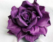 Violet Læder Rose blomst broche / hår klip