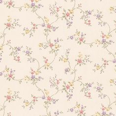 Andover Miniatures Wendy Floral Trail Wallpaper 413-66327 in Lilac, Red, Yellow