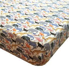Liberty Print Fitted Sheet   Queue for the Zoo Yellow