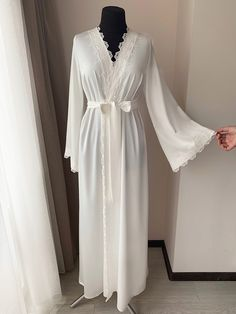 Blonde Hair Color Ideas For Summer Discover Long bridal robe with lace Ivory robe morning lingerie maternity dress silk robe long kimono ro Lace Bridal Robe, Bridal Robes, Color Ivory, Wedding Night Lingerie, Bridesmaid Robes, Lace Sleeves, Maternity Dresses, Night Gown, Ukraine