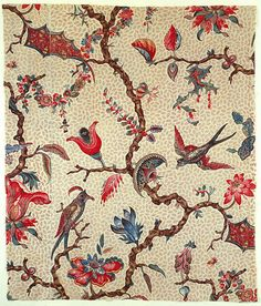 Textile design, 1775-1784. block-printed cotton. France. Via Cooper Hewitt
