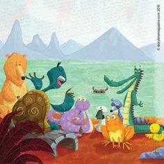 Everyone is listening to the many stories the tortoise has to tell....in the fable The Tortoise and the Geese in Storytime. Illus by Tel Coelho #Storytime #storyforkids #kidsmagazine #childrensillustrations