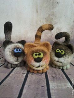 Little Kittens, Needle Felted Animals, by Kotoshop on livemaster Needle Felted Ornaments, Needle Felted Cat, Needle Felted Animals, Felt Ornaments, Felt Animals, Felt Mouse, Felt Cat, Cat Crafts, Doll Crafts