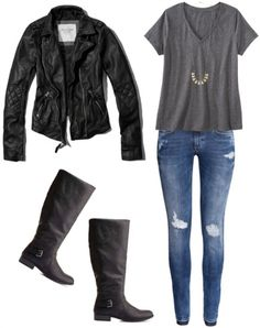Moto jacket, gray tee, distressed jeans, black riding boots... Kate Beckett