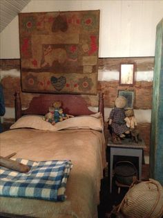 Primitive bedroom, Early hooked rug....Stacee Droit home/photo