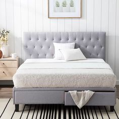 Shop Brookside™ Anna Upholstered Storage Bed with Drawers - Overstock - 30884528 - Stone - Queen Bedroom Furniture Stores, Bed Furniture, Furniture Deals, Modern Furniture, Furniture Design, Cal King Bedding, Grey Bedding, Bed Frame With Storage, Bed Storage