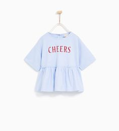 ZARA - KIDS - FRILLED 'CHEERS' T-SHIRT