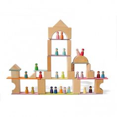 These building boards are the perfect complement to the 12 piece rainbows, tunnels and semicircle So many wonderful balancing and sk. Rainbow Activities, Activities For Kids, Grimm, Let Them Be Little, Papers Co, Toy Store, Thing 1 Thing 2, New Construction, Wooden Toys