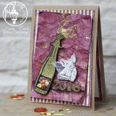 New Year card, Darkroom Door Celebrate, VLV Stamps angel pigs