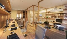 Home Office – Home Decor Designs Corporate Office Design, Small Office Design, Office Table Design, Corporate Interiors, Office Interior Design, Interior Exterior, Office Interiors, Cozy Home Office, Loft Office