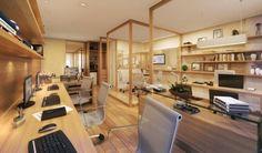 Home Office – Home Decor Designs Corporate Office Design, Small Office Design, Office Table Design, Corporate Interiors, Office Interior Design, Office Interiors, Cozy Home Office, Loft Office, Office Workspace
