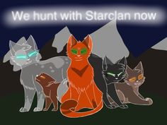These are the cats (that I know of) who die in The Last Hope. In order from left to right they are Ferncloud, a Shadowclan kit (they don't specify who), Firestar, Hollyleaf (best character), and Mousefur.  Characters are from Erin Hunter