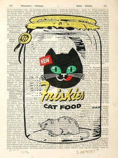 CAT FOOD giclee print poster mixed media painting by artretro, $12.00