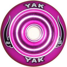 """YAK Scat II Metal Core Wheel Purple 100mm by YAK. $19.95. The NEW Yak Scat II wheel is the hottest metal core scooter wheel on the market today! Completely redesigned to prevent """"de-hubbing"""" the Scat is built to last. Delrin bearing cups are no longer needed to ensure proper bearing fitment. This makes the wheel not only stronger, but gives it a more solid feel. This wheel is designed for park use and smooth surface riding. Can be used front or rear. 30-Day Gua..."""