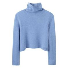 The Row Nenette Top ❤ liked on Polyvore featuring tops, sweaters, cropped turtleneck sweater, turtleneck crop tops, blue cropped sweater, long sleeve crop sweater and cropped turtleneck