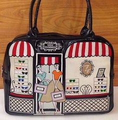 LULU GUINNESS Glasses Sunglass Shop Handbag Patent Leather EMBROIDERED RARE Painted Bags, Hand Painted, Lulu Guinness, Canvas Shoulder Bag, Patent Leather, Display, Handbags, Purses, Totes