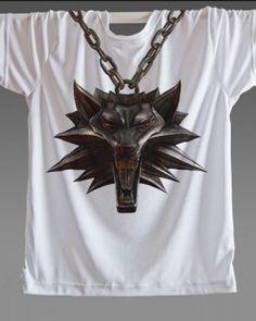 Jeu The Witcher 3 Logo T-shirts imprimer motif coton à manches courtes o - cou t - Shirts Tops vê Printed Shirts, Tee Shirts, Tees, Wolf T Shirt, The Witcher 3, Wild Hunt, Cotton Shorts, Print Patterns, 3 Logo