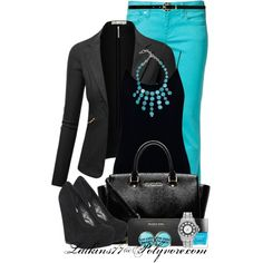 """""""Turquoise and Black"""" by latkins77 on Polyvore"""