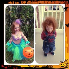 My stepdaughter Everleigh as both the DIY Ariel I did and Chucky her mom did last year!  She was two.