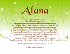 Alana Name Meaning - First Name Creations Passing Quotes, French Names, Irish Names, Name Boards, Name Games, What Is Your Name, Names With Meaning, Maybe One Day, Character Names