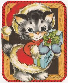 Vintage Greeting Card Christmas Cat Santa Hat Die Cut Gibson Cute A321 | eBay