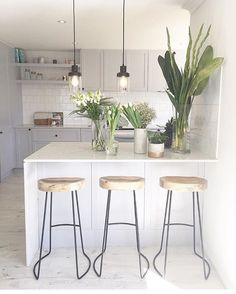 """""""Take a sneak peak at the boss girls @threebirdsrenovations kitchen transformation from their latest renovation featuring our tractor stools (available in…"""""""