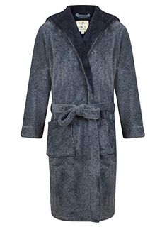 BNWT M/&S Mens Gents black premium fleece hooded dressing gown robe M /& XL