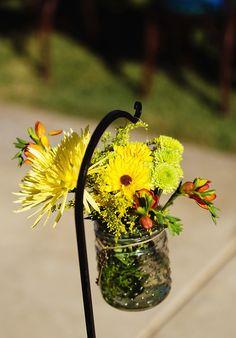 Wedding Aisle Décor Flowers in Hobnail and Shepherd Hooks #storybookweddings