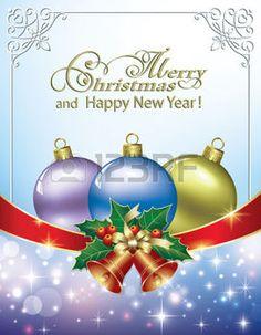 fond clair avec des décorations des rubans: Christmas background with balls and bells Illustration