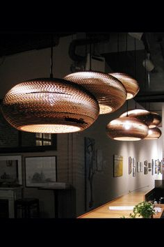 Cardboard pendant lights