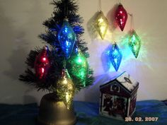 Lighted Christmas Bulb Ornaments (Set of 4 with gift box)