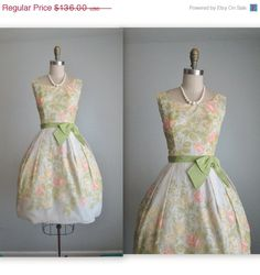 Store wide Sale 50's Floral Chiffon Dress // by TheVintageStudio hah!! here's your reception dress!