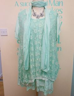 CLASSY PLUS SIZE LAGENLOOK EMBROIDERED LACE TUNIC TOP, VEST & SCARF SET UK 16-20 | eBay