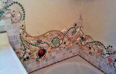 mosaic backsplash tub end detail Great site for mosaic information