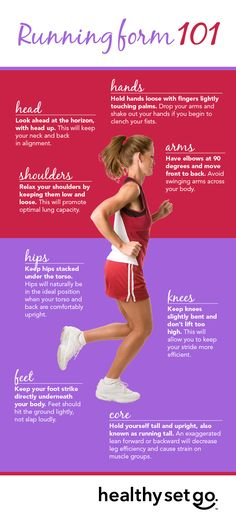Running form 101: Eight simple steps: With proper running form, you'll find that you don't tire as easily, can run farther and longer and will experience fewer injuries. http://www.allinahealth.org/HealthySetGo/SingleArticle.aspx?id=36507244484&utm_source=Social%20Media&utm_medium=Pinterest&utm_term=Move&utm_content=Running%20Form%20101%3A%20Eight%20Simple%20Steps&utm_campaign=HSG
