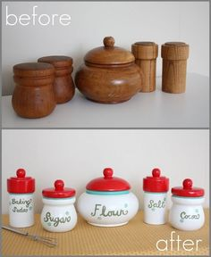 Play canisters for play kitchen.