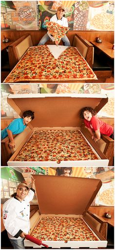 The largest pizza commercially available is 1 m 37 cm (4 ft 6 in) by 1 m 37 cm (4 ft 6 in) and is sold at the Big Mama''s and Papa''s Pizzeria, Los angeles, California. It is a square pizza which is said to serve between 50 and 100 people!  #pizza #food #eats #tasty #yum #delicious #food #foodies #recipes #LA #california #records #books #kids #family